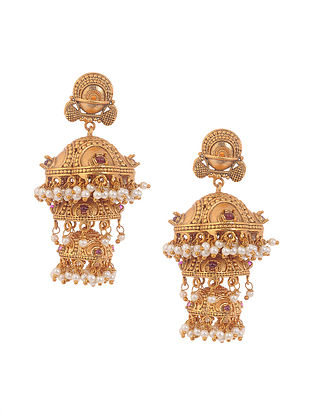 Pink Gold Tone Temple Work Jhumki Earrings with Pearls