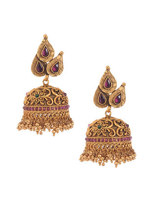 Pink Green Gold Tone Temple Work Jhumki Earrings