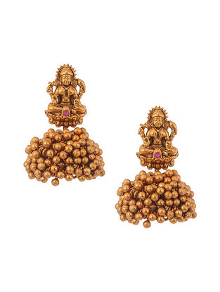 Pink Gold Tone Temple Work Jhumki Earrings
