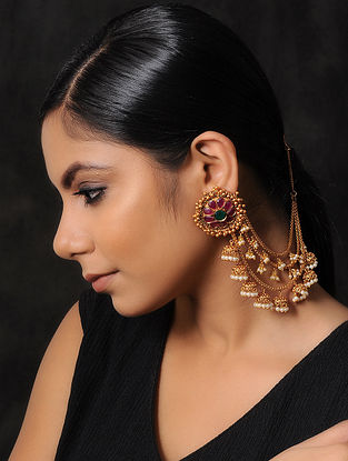 Pink Green Gold Tone Temple Work Earrings with Hair Chains