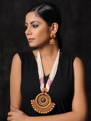 Pink Green Gold Tone Pearl Beaded Temple Work Necklace with Jhumki Earrings (Set of 2)