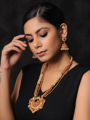 Pink Green Gold Tone Temple Work Necklace with Jhumki Earrings (Set of 2)