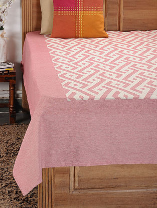Pink and White Woven Cotton Double Bedcover (104in x 92in)