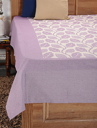 Purple and White Woven Cotton Double Bedcover (104in x 92in)