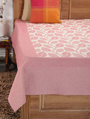 Pink and White Woven Cotton Double Bedcover (105in x 92in)