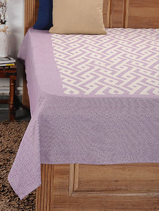 Purple and White Woven Cotton Double Bedcover (105in x 92in)