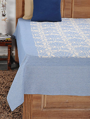 Blue and White Woven Cotton Double Bedcover (104in x 92in)