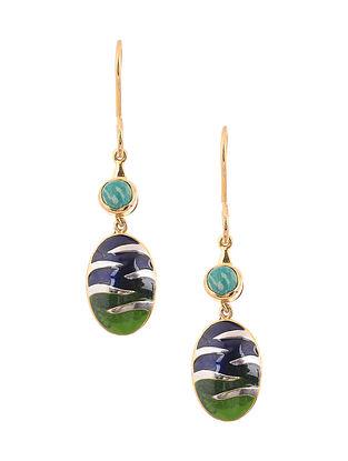 Blue Green Enameled Dual Tone Reversible Silver Earrings
