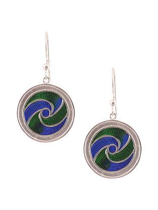 Green Blue Enameled Silver Earrings