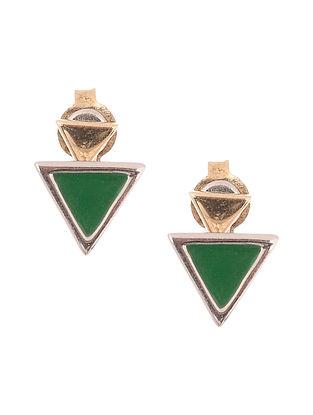 Green Enameled Dual Tone Silver Stud Earrings