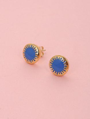 Blue Enameled Gold Plated Silver Stud Earrings