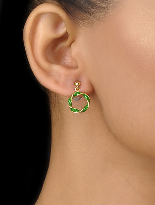 Green Enameled Gold Plated Silver Earrings