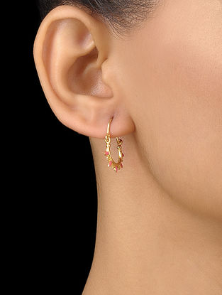 Pink Enameled Gold Plated Silver Hoop Earrings