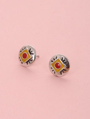 Red Yellow Enameled Silver Stud Earrings
