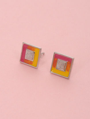 Pink Yellow Enameled Silver Stud Earrings
