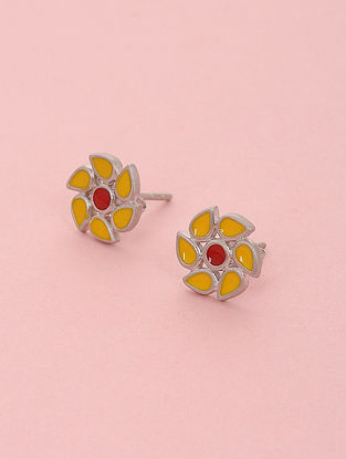 Yellow Red Enameled Silver Stud Earrings