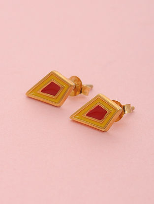 Red Yellow Enameled Gold Plated Silver Stud Earrings