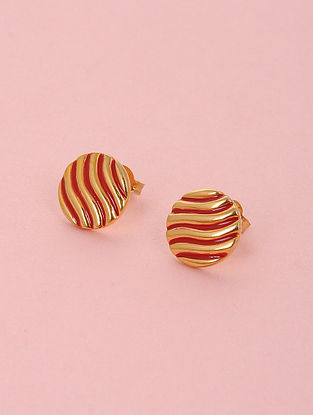 Red Enameled Gold Plated Silver Stud Earrings