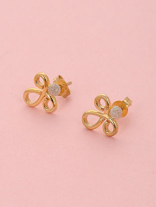 Dual Tone Silver Stud Earrings