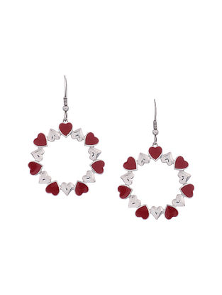 Red Enameled Silver Earrings