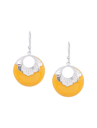 Yellow Enameled Silver Earrings
