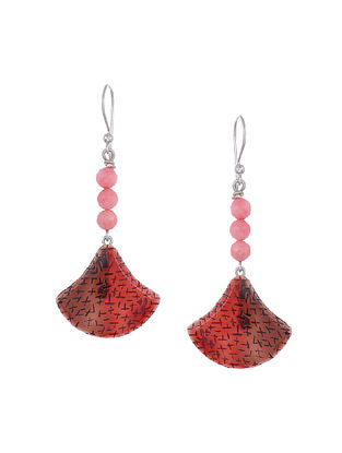 Red Enameled Silver Earrings with Cherry Quartz