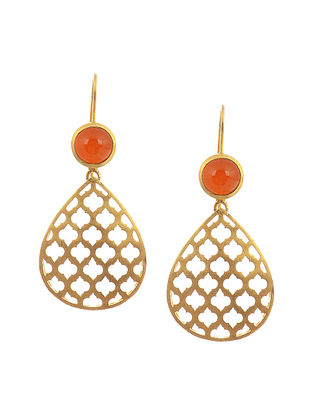 Gold Plated Silver Earrings with Carnelian
