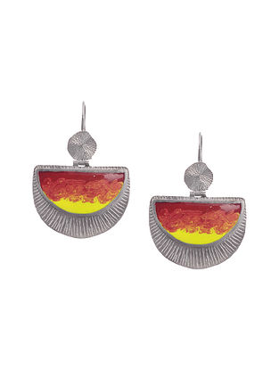 Yellow Orange Enameled Silver Earrings