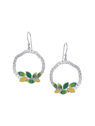 Yellow Green Enameled Silver Earrings