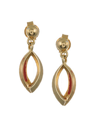 Red Enameled Gold Plated Silver Earrings