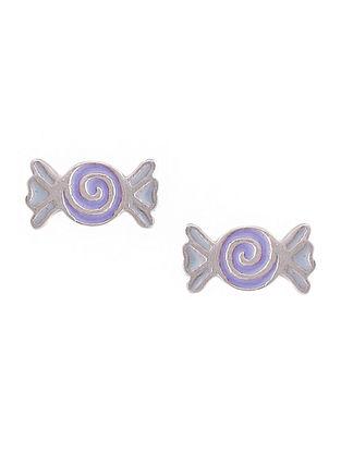 Purple Enameled Silver Earrings