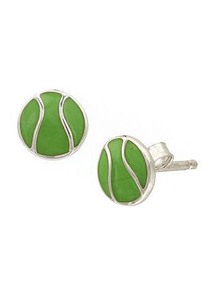 Green Enameled Silver Earrings