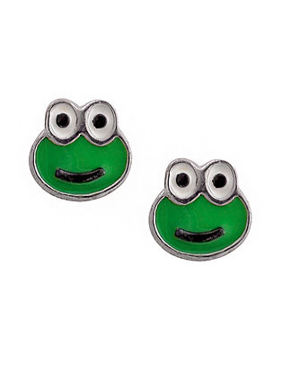 Green White Enameled Silver Earrings