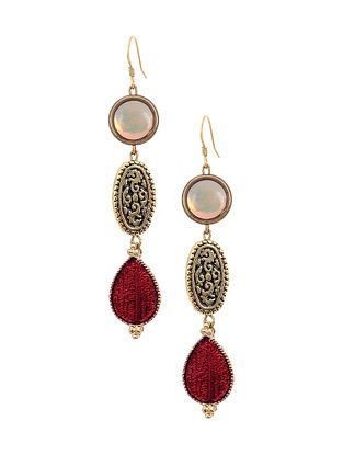 Maroon White Gold Tone Handcrafted Earrings