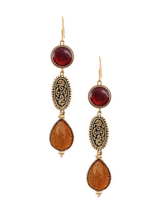 Maroon Yellow Enameled Gold Tone Handcrafted Earrings