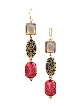 Pink White Gold Tone Handcrafted Earrings
