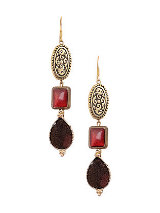 Maroon Brown Enameled Gold Tone Handcrafted Earrings