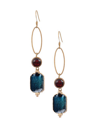 Blue Maroon Enameled Gold Tone Handcrafted Earrings