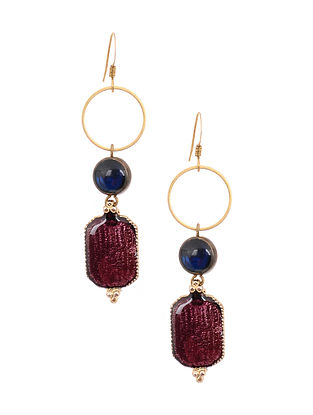 Blue Purple Gold Tone Handcrafted Earrings