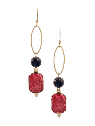 Blue Pink Enameled Gold Tone Handcrafted Earrings