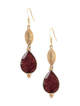 Brown Enameled Gold Tone Handcrafted Earrings