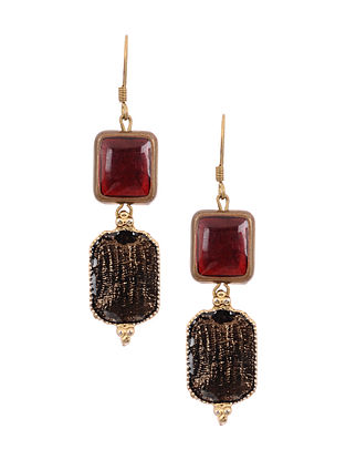 Maroon Brown Gold Tone Handcrafted Earrings