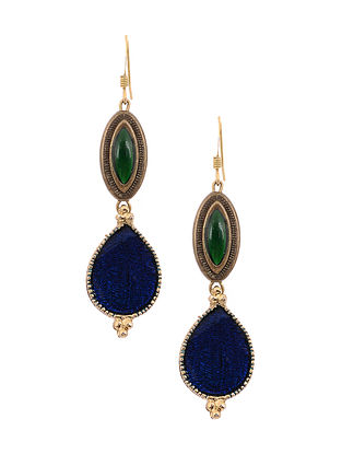 Blue Green Enameled Gold Tone Handcrafted Earrings