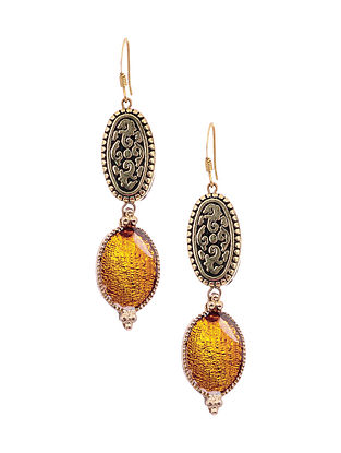 Yellow Enameled Gold Tone Handcrafted Earrings