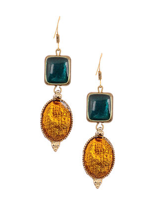 Yellow Blue Enameled Gold Tone Handcrafted Earrings
