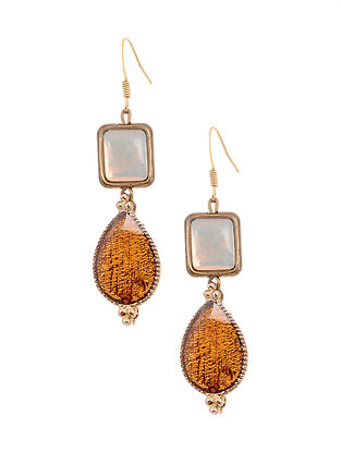 Yellow White Enameled Gold Tone Handcrafted Earrings