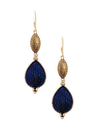 Blue Enameled Gold Tone Handcrafted Earrings