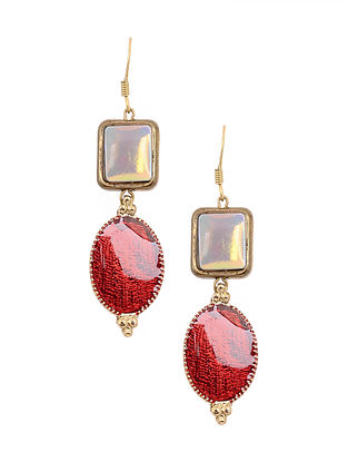Maroon White Enameled Gold Tone Handcrafted Earrings
