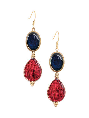 Maroon Blue Enameled Gold Tone Handcrafted Earrings