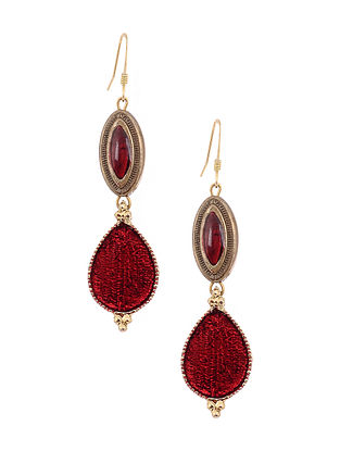 Maroon Enameled Gold Tone Handcrafted Earrings